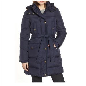 J.Crew Wintress Belted Down Puffer Coat Navy NWT
